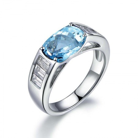 Blue Topaz Sterling Silver Lady's Promise Ring Wedding Ring
