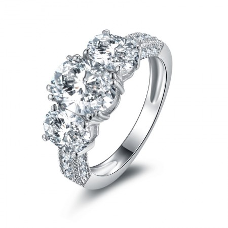 Korean Style Oval-Shaped Sterling Silver Lady's Engagement/Wedding Ring