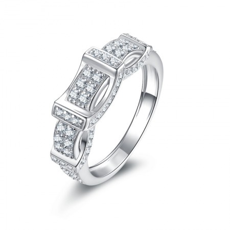 Korean Style Platinum Plated Sterling Silver Man's Promise Ring Wedding Ring