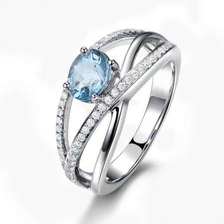 Natural Blue Topaz Hollow Design Sterling Silver Engagement/Wedding Ring For Her