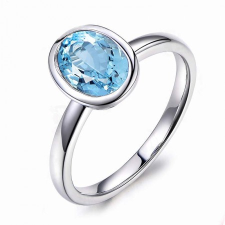 Natural Blue Oval Topaz Sterling Silver Lady's Promise Ring Wedding Ring