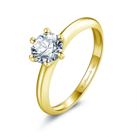 10k Gold Zircon Low-Key And Luxurious Lady's Engagement/Wedding Rings