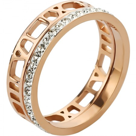 Roman Numerals And Full Diamonds Design 18k Rose Gold Color Lady's Rings Set