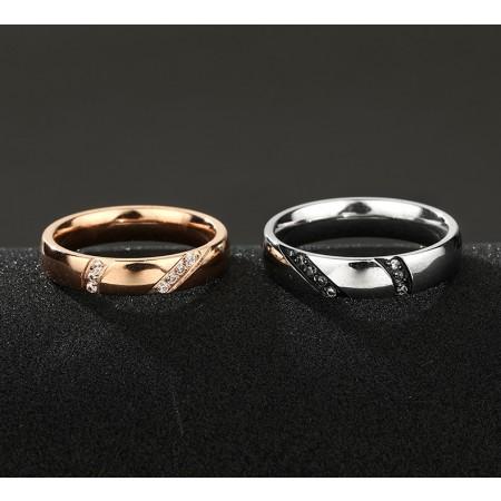 Oblique Diamonds Inlaid 316L Titanium Steel Lovers Couple Rings
