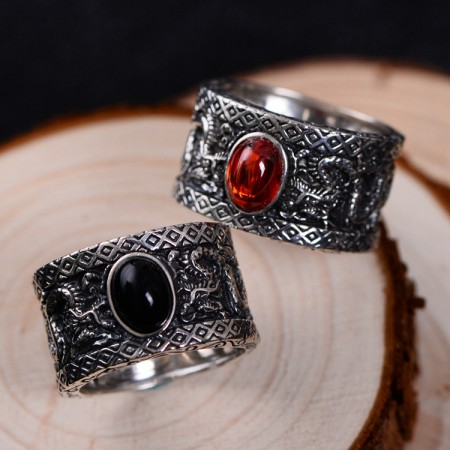 Dragon Pattern Garnet And Black Agate s925 Sterling Silver Man's Ring