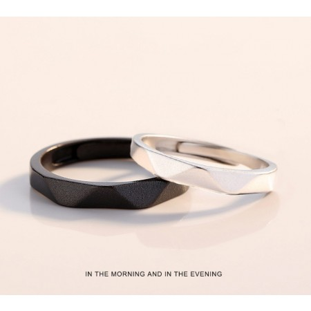 Miss You In The Morning And In The Night s925 Sterling Silver Lovers Adjustable Couple Rings