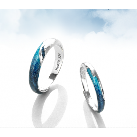 Love Like Mountains And Rivers s925 Sterling Silver Lovers Couple Rings