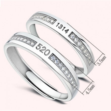 Vows Of Love 1314 520 s925 Sterling Silver Lovers Adjustable Couple Rings