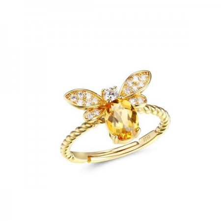 Citrine Honeybee s925 Sterling Silver Birthday Gift Lady's Ring