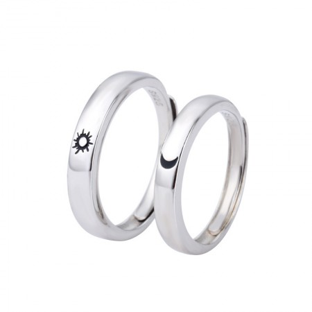 Sun And Moon Simple Design s925 Sterling Silver Lovers Adjustable Couple Rings