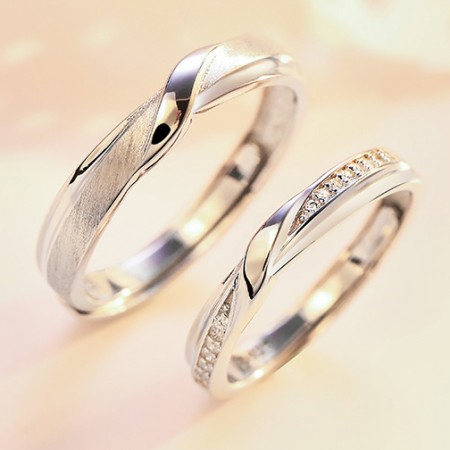 Perfect Match s925 Sterling Silver Lovers Adjustable Couple Rings