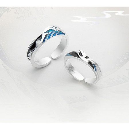 Tide Over Difficulties s925 Sterling Silver Lovers Adjustable Couple Rings