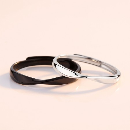 Mobius Design Together In The Morning And Evening s925 Sterling Silver Lovers Adjustable Couple Rings
