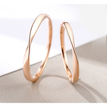 Mobius Strip Rose Gold Color s925 Sterling Silver Lovers Couple Rings