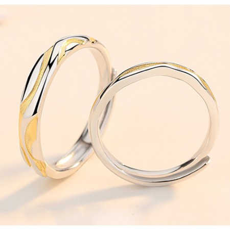 Constant And Abiding Love Color Separation s925 Sterling Silver Lovers Adjustable Couple Rings