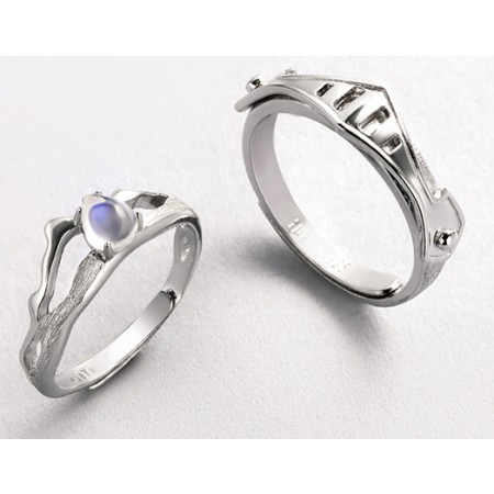Princess And Knight s925 Sterling Silver Lovers Adjustable Couple Rings