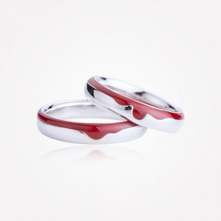 Romantic Red Enamel Original Design s925 Sterling Silver Lovers Couple Rings