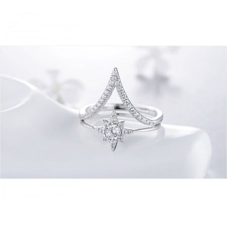 Personalized Arrow And Sun Flower s925 Sterling Silver Ring Sets For Her