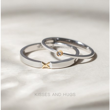 Kisses And Hugs 18k Gold Plated Moissanite s925 Sterling Silver Lovers Couple Rings