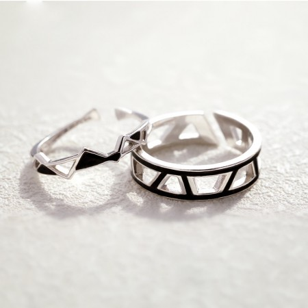 Original Design Perfect Edges And Corners Fit s925 Sterling Silver Lovers Adjustable Couple Rings