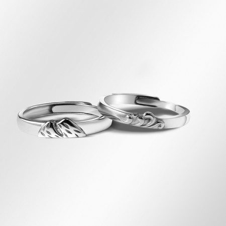 Mountain League Oath s925 Sterling Silver Lovers Adjustable Couple Rings