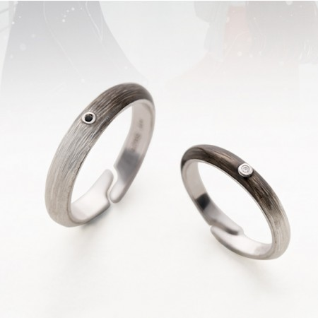 Living With You Forever s925 Sterling Silver Lovers Adjustable Couple Rings