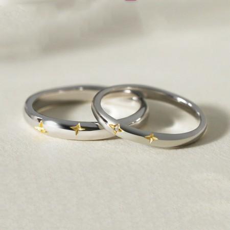 BlinkingStars 5A Zircon s925 Sterling Silver Lovers Couple Rings