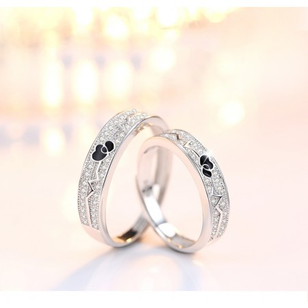 Heart Beats For You s925 Sterling Silver Lovers Adjustable Couple Rings