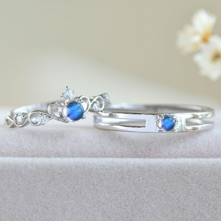 Natural Moonstone s925 Sterling Silver Lovers Adjustable Couple Rings