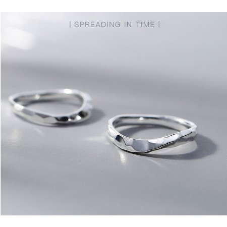 Original Spreading In Time Design s925 Sterling Silver Lovers Couple Rings