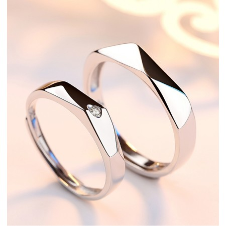 Romance On Fingertips s925 Sterling Silver Lovers Adjustable Couple Rings