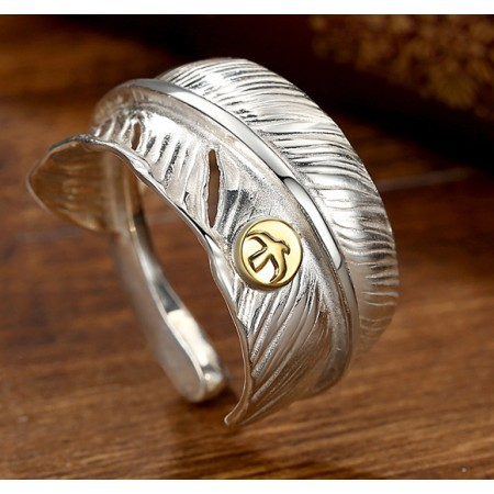 Flying Birds Carved Feather Designs 925 Sterling Silver Lovers Adjustable Couple Rings (Price for a pair)