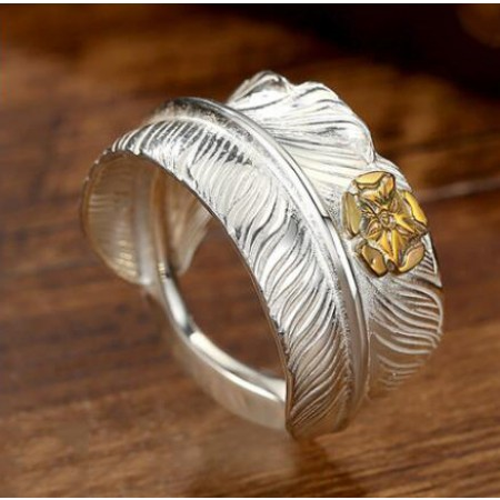Rose Carved Feather Design s925 Sterling Silver Lovers Adjustable Couple Rings (Price for a pair)