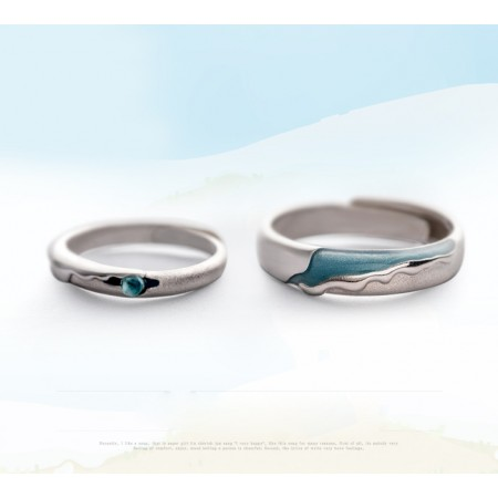 Melt The Snow s925 Sterling Silver Lovers Adjustable Couple Rings