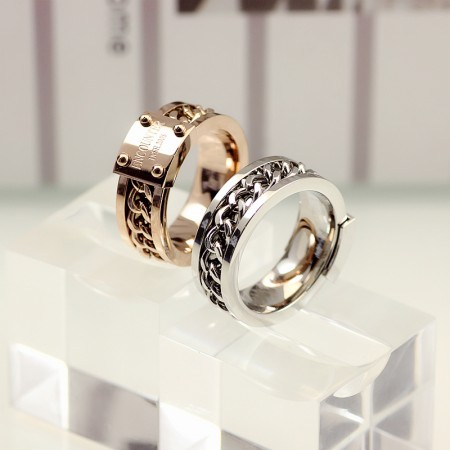 Square Brand And Chain Titanium Steel Lovers Couple Rings