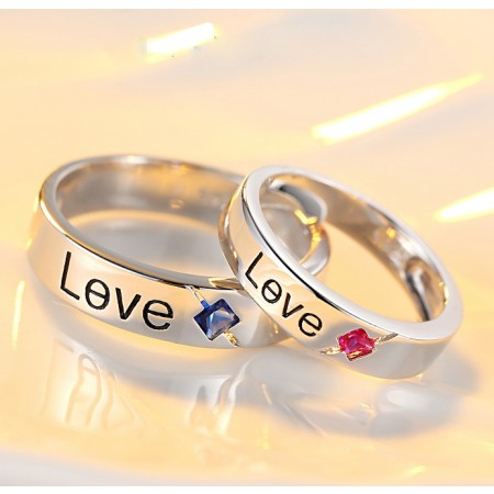 Creative Love Design Red And Blue Gemstone s925 Sterling Silver Lovers Couple Rings