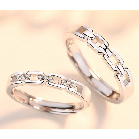 Heart Linked Heart s925 Sterling Silver Cubic Zirconia Lovers Adjustable Couple Rings