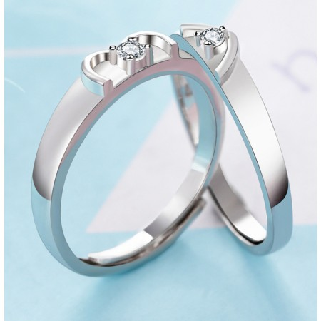 Love At The Fingertips Heart-Shape s925 Sterling Silver Lovers Adjustable Couple Rings