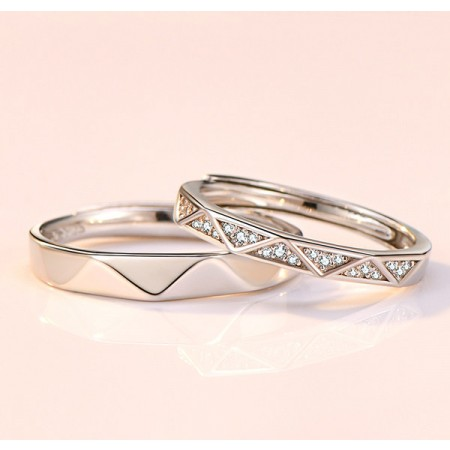 Love You More Than Once s925 Sterling Silver Lovers Adjustable Couple Rings