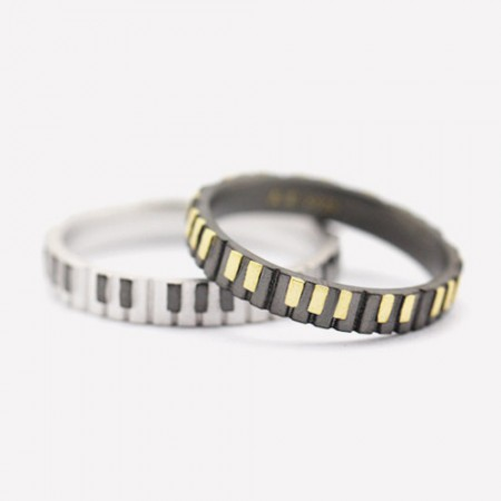 Original Design Music Of Love s925 Sterling Silver Lovers Couple Rings