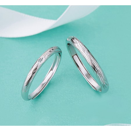 Deep In Love s925 Sterling Silver Lovers Adjustable Couple Rings