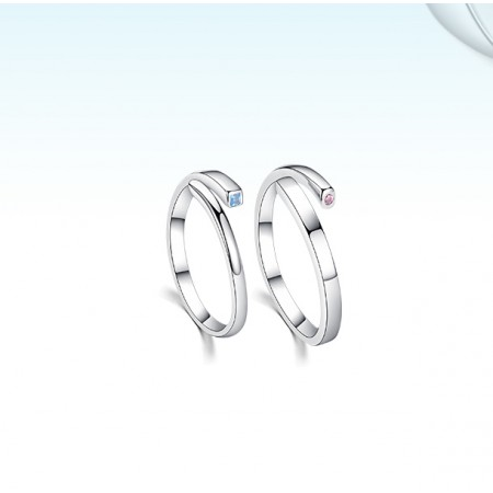 Compatible With Each Other s925 Sterling Silver Lovers Adjustable Couple Rings