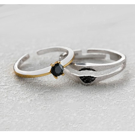 Occupy My Heart s925 Sterling Silver Lovers Adjustable Couple Rings