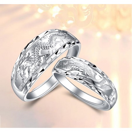 Dragon And Phoenix Sterling Silver Lovers Adjustable Couple Rings