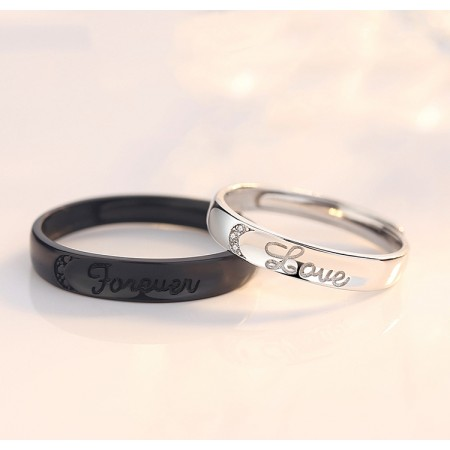 cf12f907b9 Perfect Black And White s925 Sterling Silver Lovers Adjustable Couple Rings
