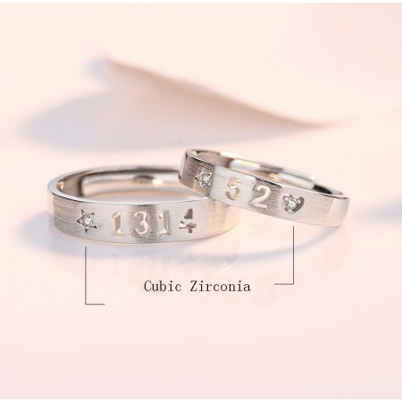 Love You All My Life s925 Sterling Silver Lovers Adjustable Couple Rings