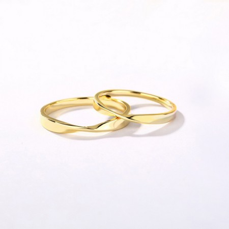 Mobius Strip 9K Gold Plated s925 Sterling Silver Lovers Couple Rings
