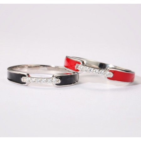 Fashionable Red And Black s925 Sterling Silver Ladies' Rings