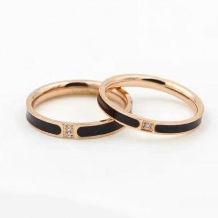 Rose Gold Color Cubic Zirconia Titanium Steel Lovers Couple Rings