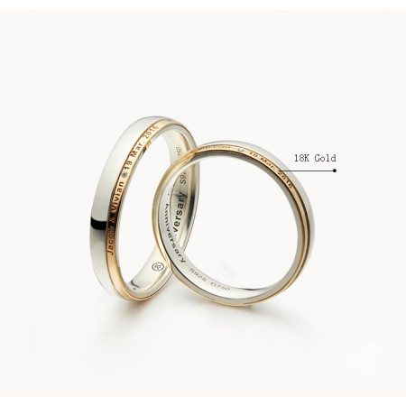 Memorial Day Of Love s925 Sterling Silver And 18K Gold Cubic Zirconia Lovers Couple Rings